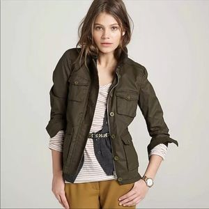 J Crew Utility Jacket Green Brown Washed Aged
